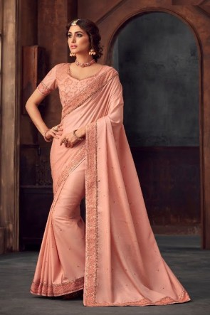 Silk Fabric Baby Pink Stone Work and Embroidered Designer Saree And Blouse