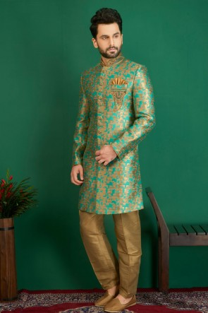 Beautiful Turquoise Jacquard, Silk and Brocade Designer Embroidered Indo Western