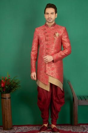 Embroidered Pink Jacquard, Silk and Brocade Designer Indo Western