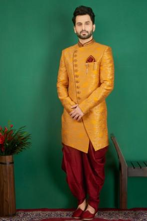 Marvelous Mustard Jacquard, Silk and Brocade Designer Embroidered Indo Western