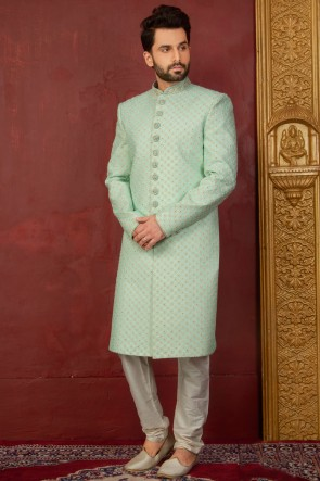 Turquoise Jacquard, Silk and Brocade Designer Embroidered Indo Western