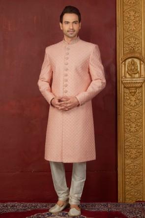 Desirable Peach Jacquard, Silk and Brocade Designer Indo Western