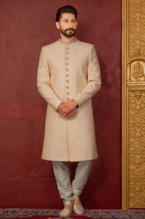 Cream Jacquard, Silk and Brocade Designer Embroidered Indo Western