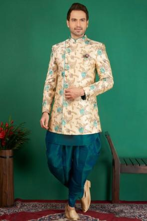 Gorgeous Cream Jacquard, Silk and Brocade Designer Embroidered Indo Western