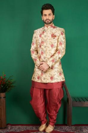 Cream Jacquard, Silk and Brocade Embroidered Indo Western