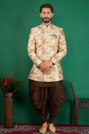 Embroidered Cream Jacquard, Silk and Brocade Designer Indo Western