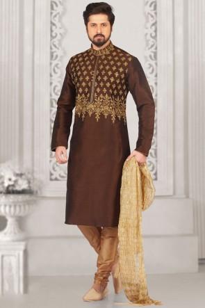 Coffee Banarasi Silk Designer Embroidered Kurta Pajama