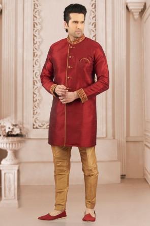Ultimate Maroon Banarasi Silk Embroidered Indo Western