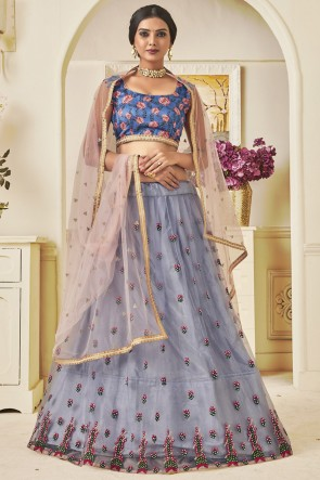 Delightful Grey Lace Work And Thread Work Net Lehenga Choli WIth Net Dupatta