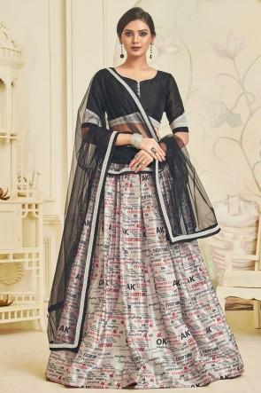Graceful Off White Lace Work And Digital Print Satin Lehenga Choli WIth Net Dupatta