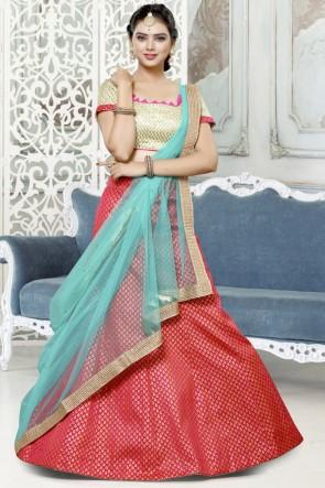 Supreme Red Lace Work And Thread Work Jacquard Lehenga Choli With Net Dupatta