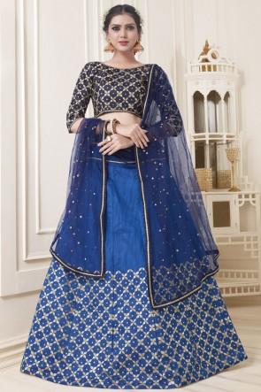 Heavy Designer Blue Thread Work And Stone Work Banarasi Silk Lehenga Choli With Net Dupatta