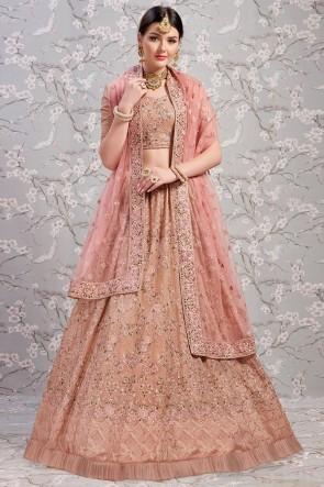 Heavy Designer Chikoo Colour Georgette Thread Work Lehenga Choli With Net Dupatta