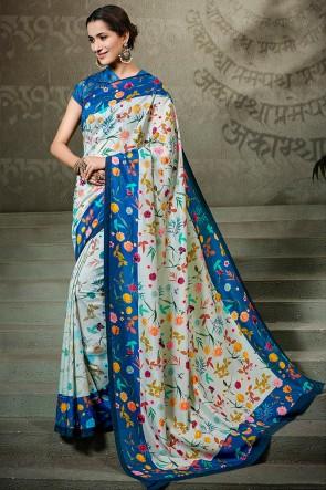 Supreme Off White Printed Silk Saree And Blouse