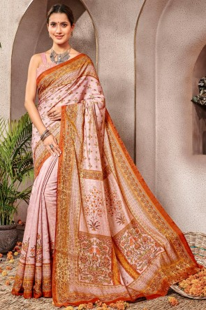 Ultimate Baby Pink Printed Silk Saree And Blouse