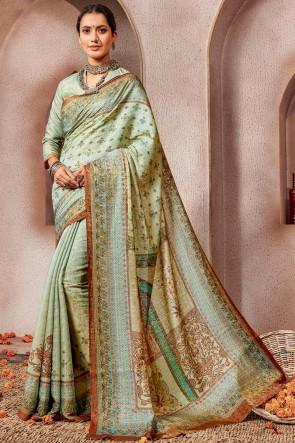 Excellent Printed Pista Silk Designer Saree And Blouse