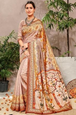 Stunning Multicolor Printed Designer Silk Saree And Blouse