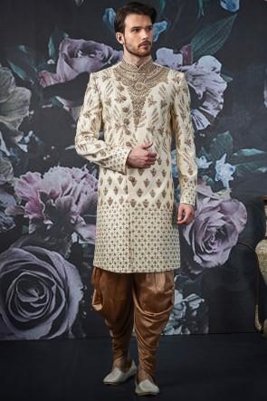 Banarasi Art Silk Fabric Cream Embroidery Work Indo Western With Art Silk Bottom