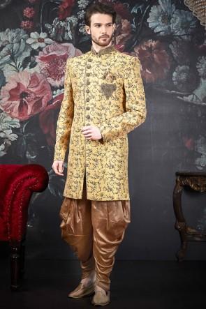 Yellow Jacquard Silk Brocade Embroidery Work Designer Indo Western With Art Silk Bottom