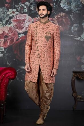 Embroidery Work Peach Jacquard Silk Brocade Indo Western With Art Silk Bottom