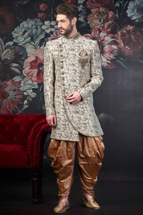 Embroidered Off White Jacquard Silk Brocade Designer Indo Western With Art Silk Bottom