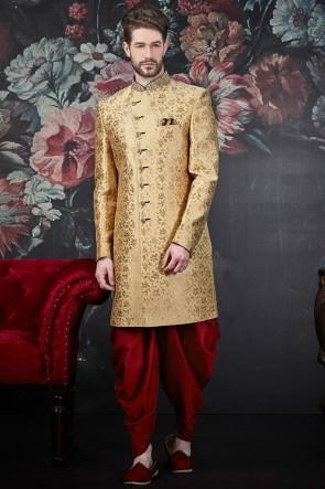 Golden Jacquard Silk Brocade Fabric Embroidered Stylish Indo Western With Art Silk Bottom