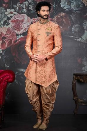 Peach Embroidery Work Jacquard Silk Brocade Fabric Indo Western With Art Silk Bottom
