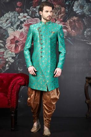 Jacquard Silk Brocade Turquoise Pattern Work Designer Indo Western With Art Silk Bottom