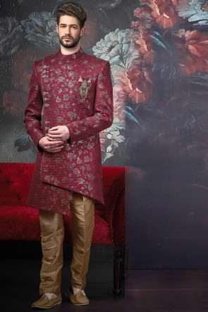 Pattern Wine Jacquard Silk Brocade Solid Indo Western With Dhupion Art Silk Bottom