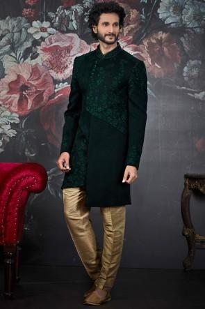 Jacquard Silk Brocade Fabric Green Indo Western With Dhupion Art Silk Bottom