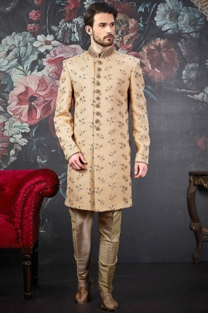 Beautiful Beige Embroidery Work Jacquard Silk Brocade Fabric Indo Western
