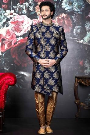 Blue Jacquard Silk Pattern Work Indo Western With Dhupion Art Silk Bottom