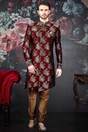 Pattern Wine Jacquard Silk Brocade Indo Western With Dhupion Art Silk Bottom