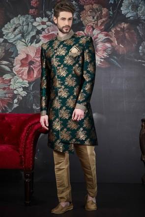 Jacquard Silk Brocade Pattern Work Green Indo Western With Dhupion Art Silk Bottom