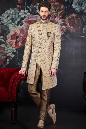 Jacquard Silk Brocade Fabric Beige Pattern Work Indo Western With Dhupion Art Silk Bottom