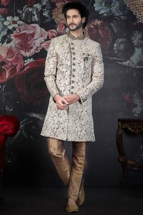 Embroidered Cream Jacquard Silk Brocade Fabric Indo Western With Dhupion Art Silk Bottom