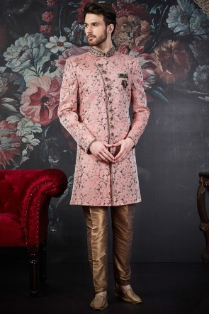 Dazzling Baby Pink Embroidered Jacquard Silk Brocade Indo Western With Dhupion Art Silk Bottom