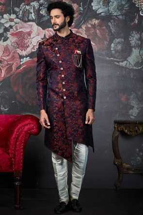 Imported Jacquard Blue And Maroon Pattern Indo Western With Dhupion Art Silk Bottom
