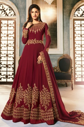 Amyra Dastur Designer Maroon Embroidered Abaya Style Anarkali Suit With Georgette Dupatta
