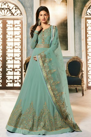 Amyra Dastur Abaya Style Aqua Georgette Embroidered Anarkali Suit And Dupatta