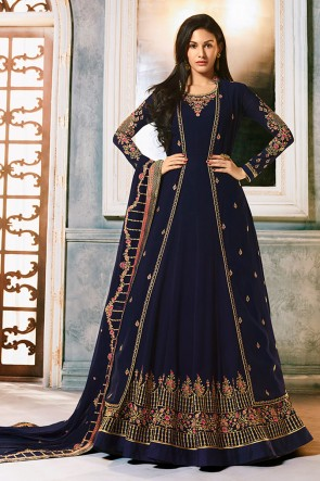 Amyra Dastur Blue Georgette Fabric Swarovski Work Abaya Style Anarkali Suit And Dupatta