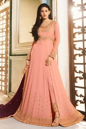 Amyra Dastur Party Wear Light Pink Georgette Abaya Style Anarkali Suit And Dupatta