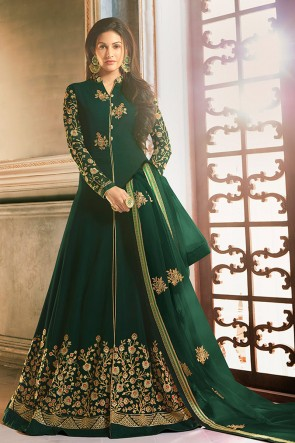 Amyra Dastur Embroidered Green Georgette Fabric Abaya Style Anarkali Suit With Net Dupatta