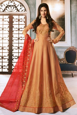Amyra Dastur Designer Peach Embroidered Abaya Style Anarkali Suit With Georgette Dupatta