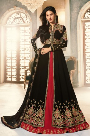 Amyra Dastur Georgette Designer Black Embroidery Work Abaya Style Anarkali Suit And Dupatta