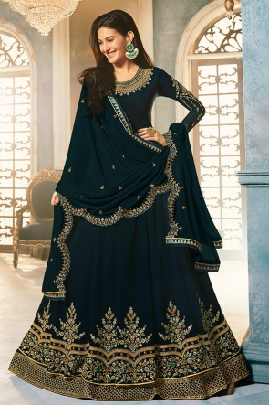 Amyra Dastur Silk Fabric Navy Blue Embroidered Anarkali Suit With Net Dupatta
