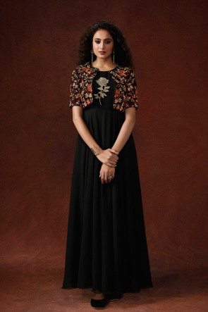 Black Silk Fabric Viscose Embroidered And Hand Work Excellent Gown