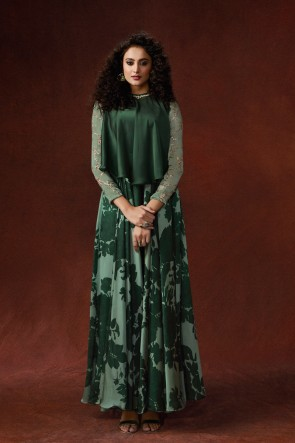 Embroidered And Hand Work Designer Mehendi Green Silk Fabric Long Lenght Gown
