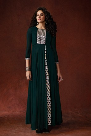 Marvelous Teal Embroidered And Hand Work  Designer Silk Fabric Gown