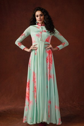Party Wear Embroidered And Hand Work Sky Blue Silk Fabric Gown